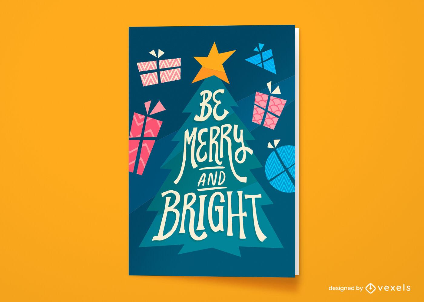 Tarjeta de felicitación navideña de árbol de Navidad