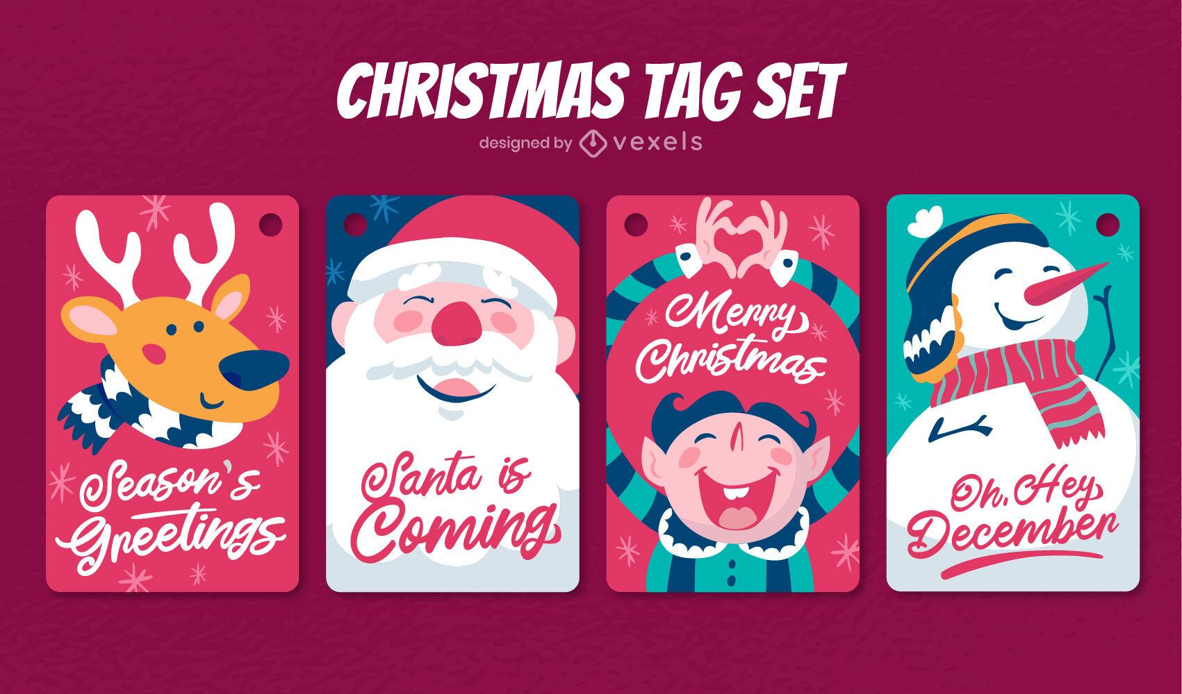 Conjunto de etiquetas de personajes de vacaciones de Navidad