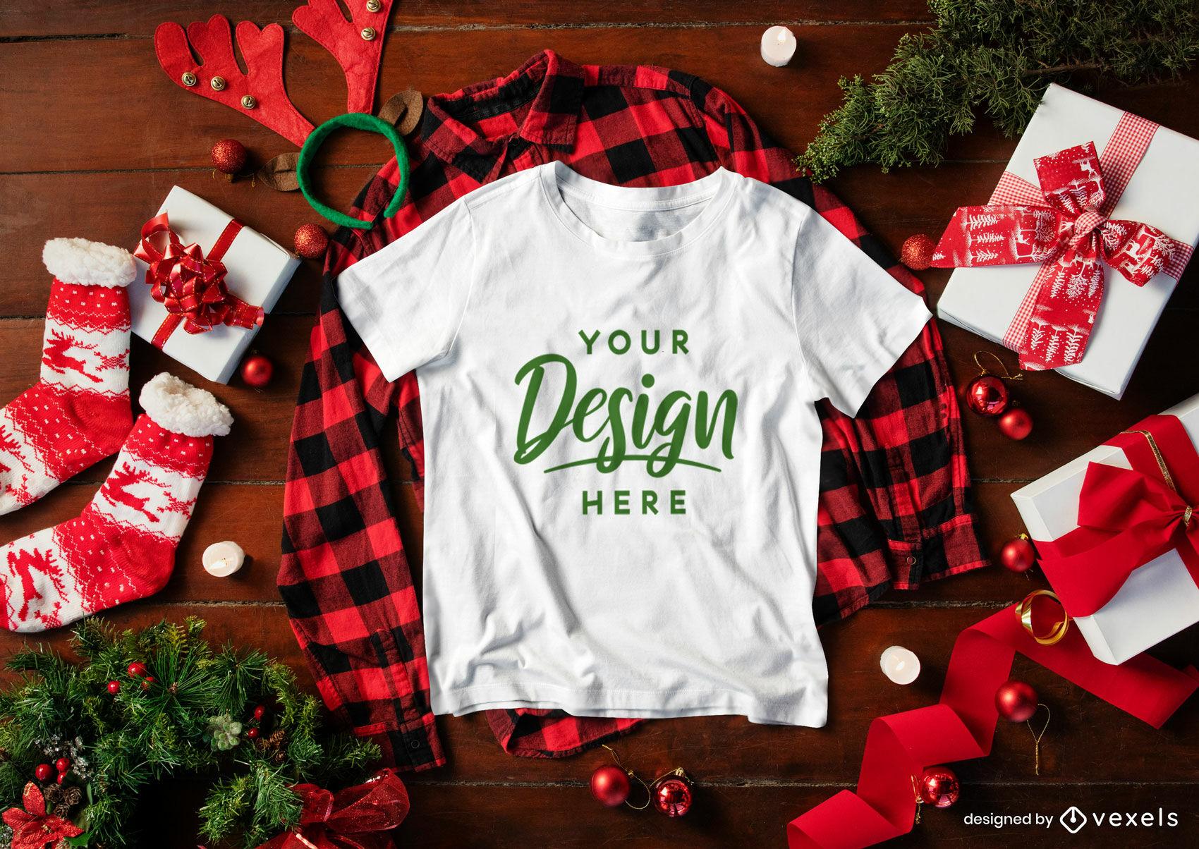 Weihnachtsweißes T-Shirt Mockup-Zusammensetzung