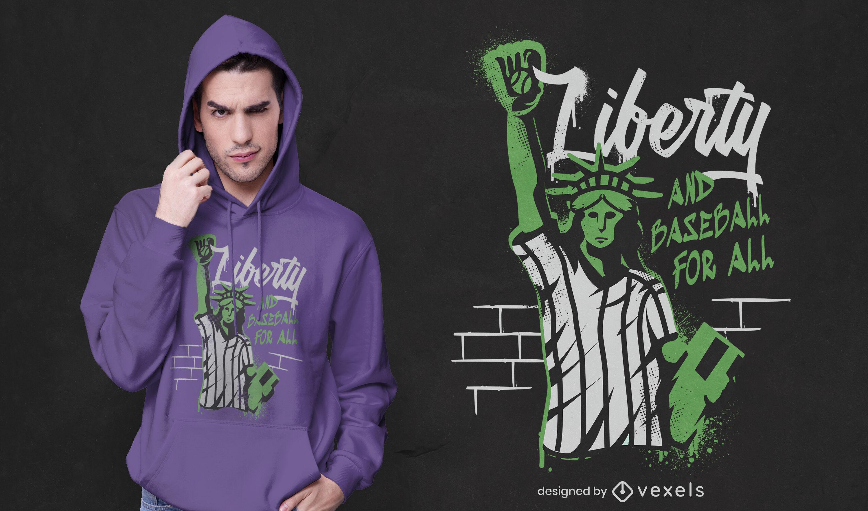 Dise?o de camiseta de b?isbol Liberty statue graffiti