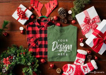 Christmas green t-shirt mockup composition
