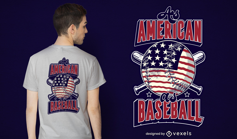 Design fixe de t-shirt de basebol americano