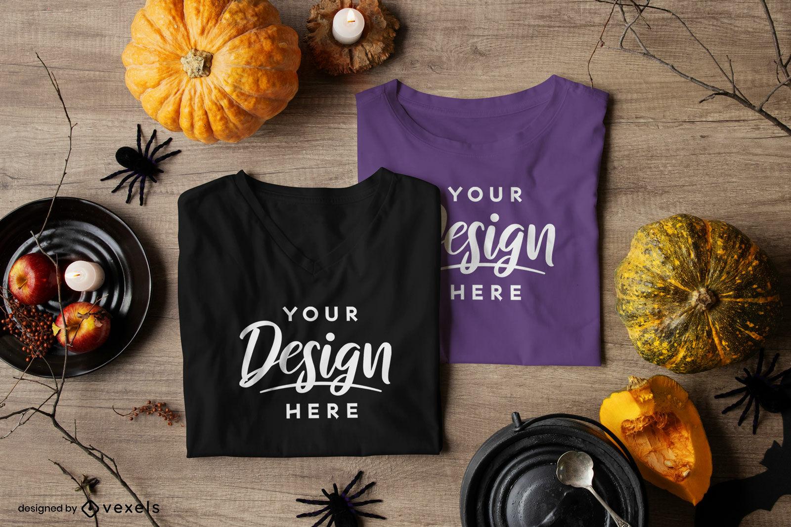 Par de composi??o de maquete de camiseta do dia das bruxas