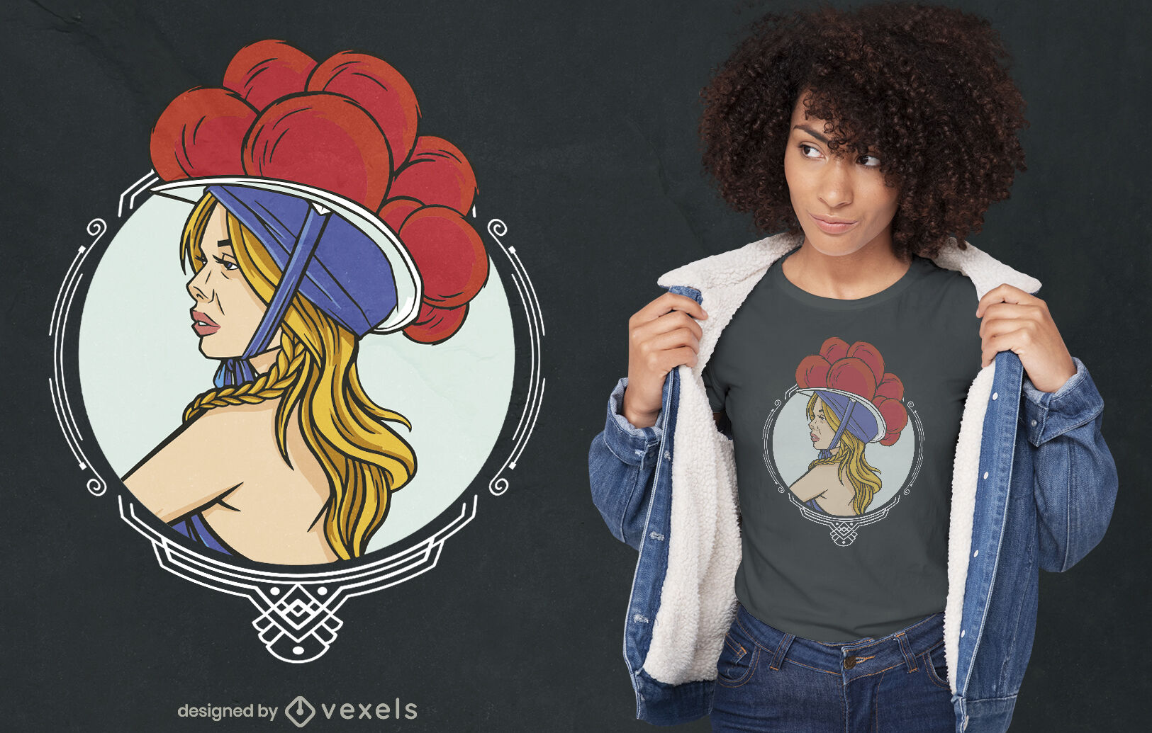 Coole Frau mit Bollenhut T-Shirt Design