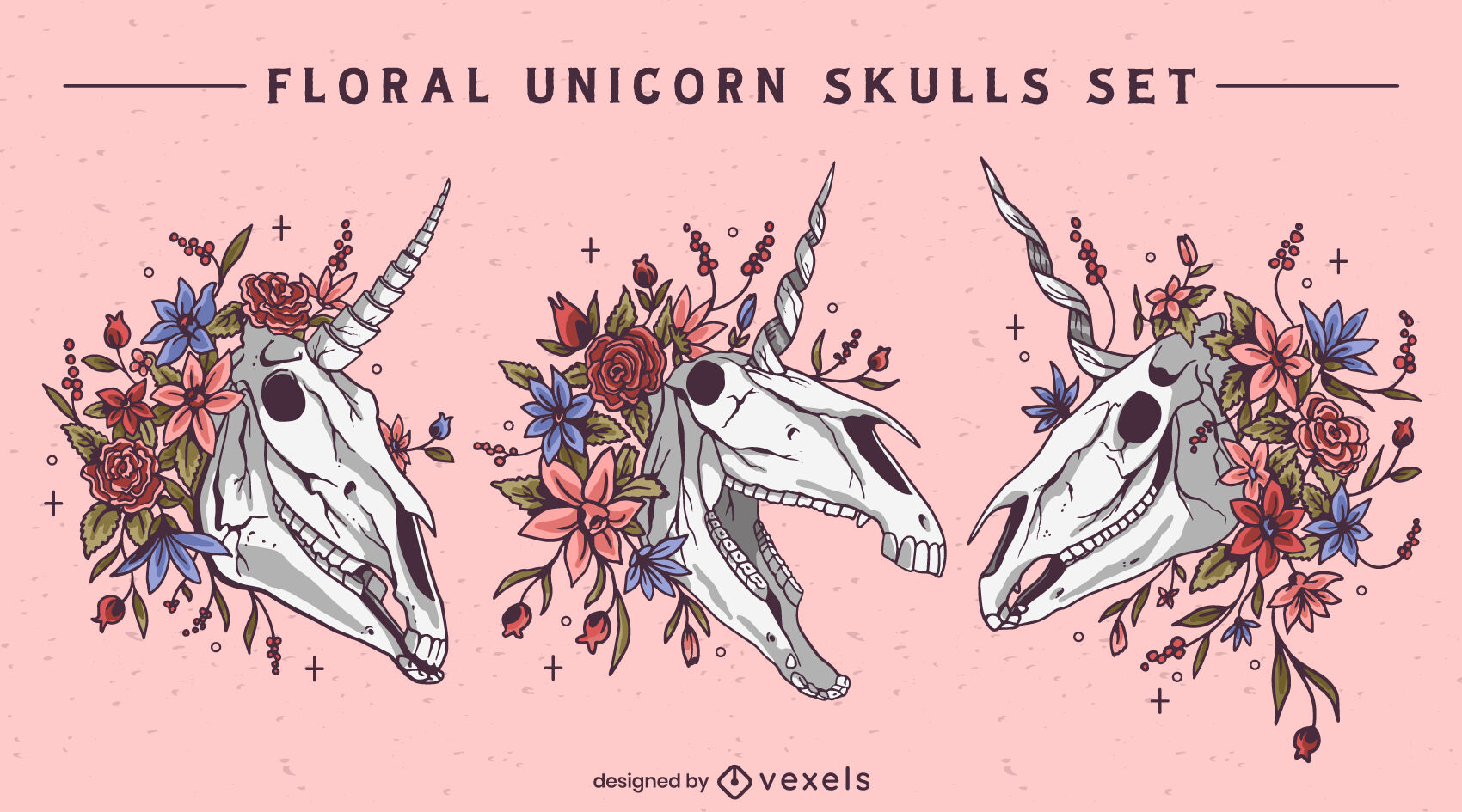 Conjunto de naturaleza muerta de unicornio floral skuls