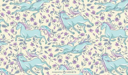 Running unicorn floral pattern design