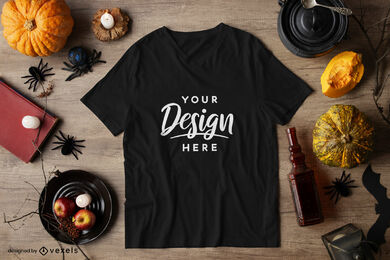 Black t-shirt halloween mockup composition