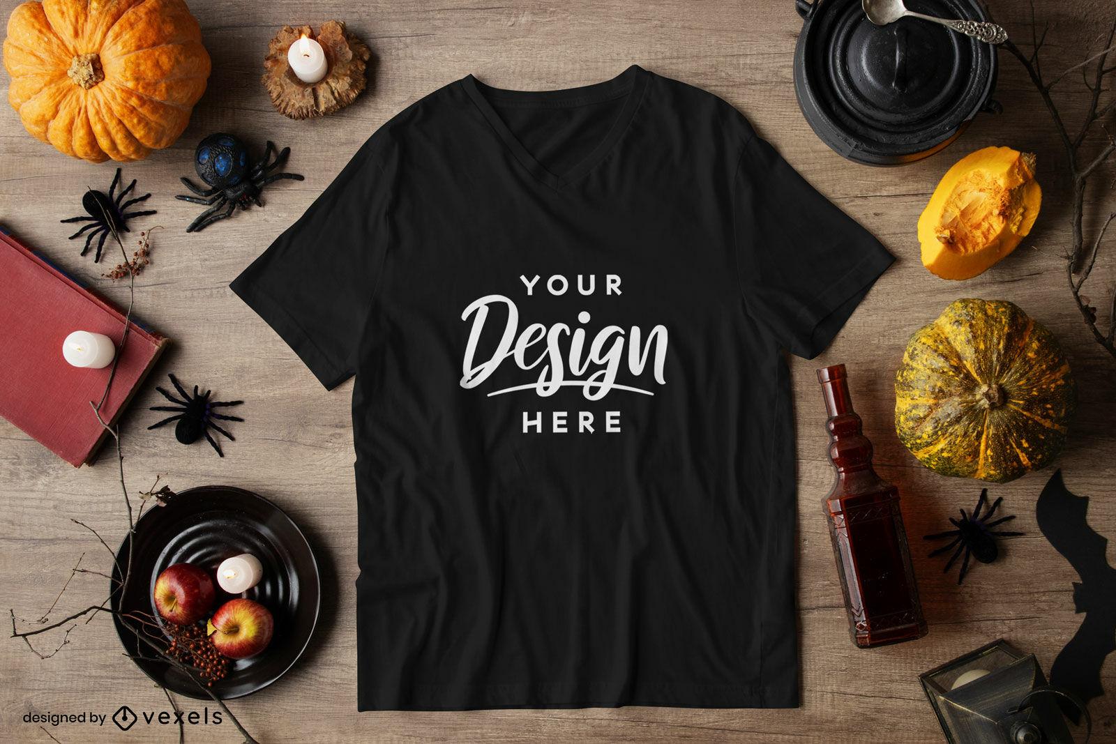 Camiseta negra composición de maqueta de halloween