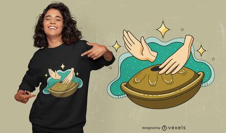 Diseño de camiseta de instrumento musical Handpan.