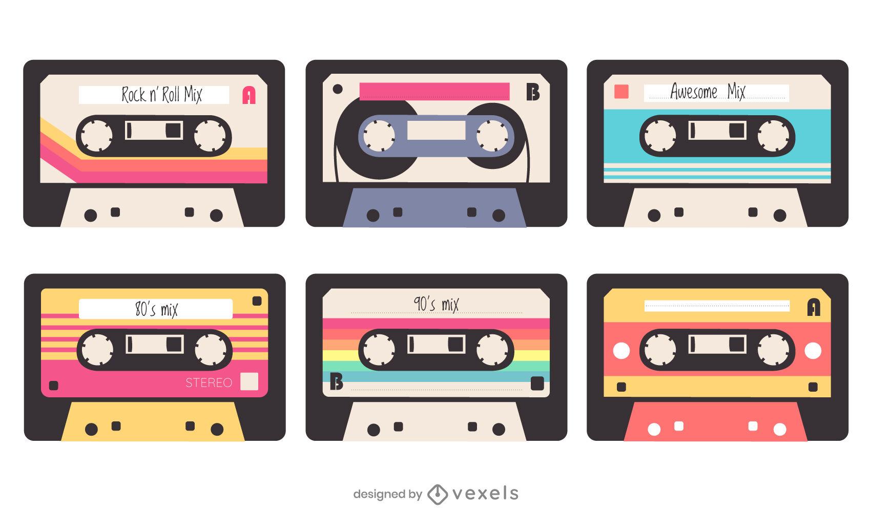 Flat cassettes set of elements