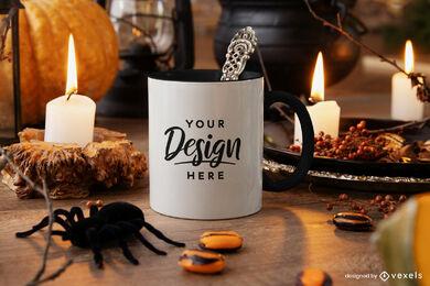 White mug mockup halloween composition