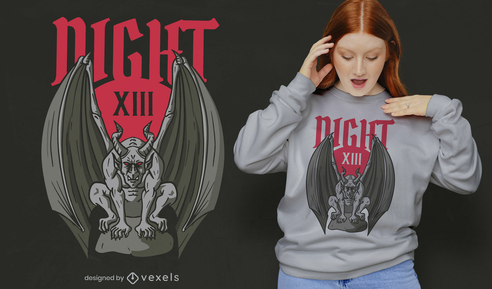 Diseño de camiseta de gárgola de noche oscura.