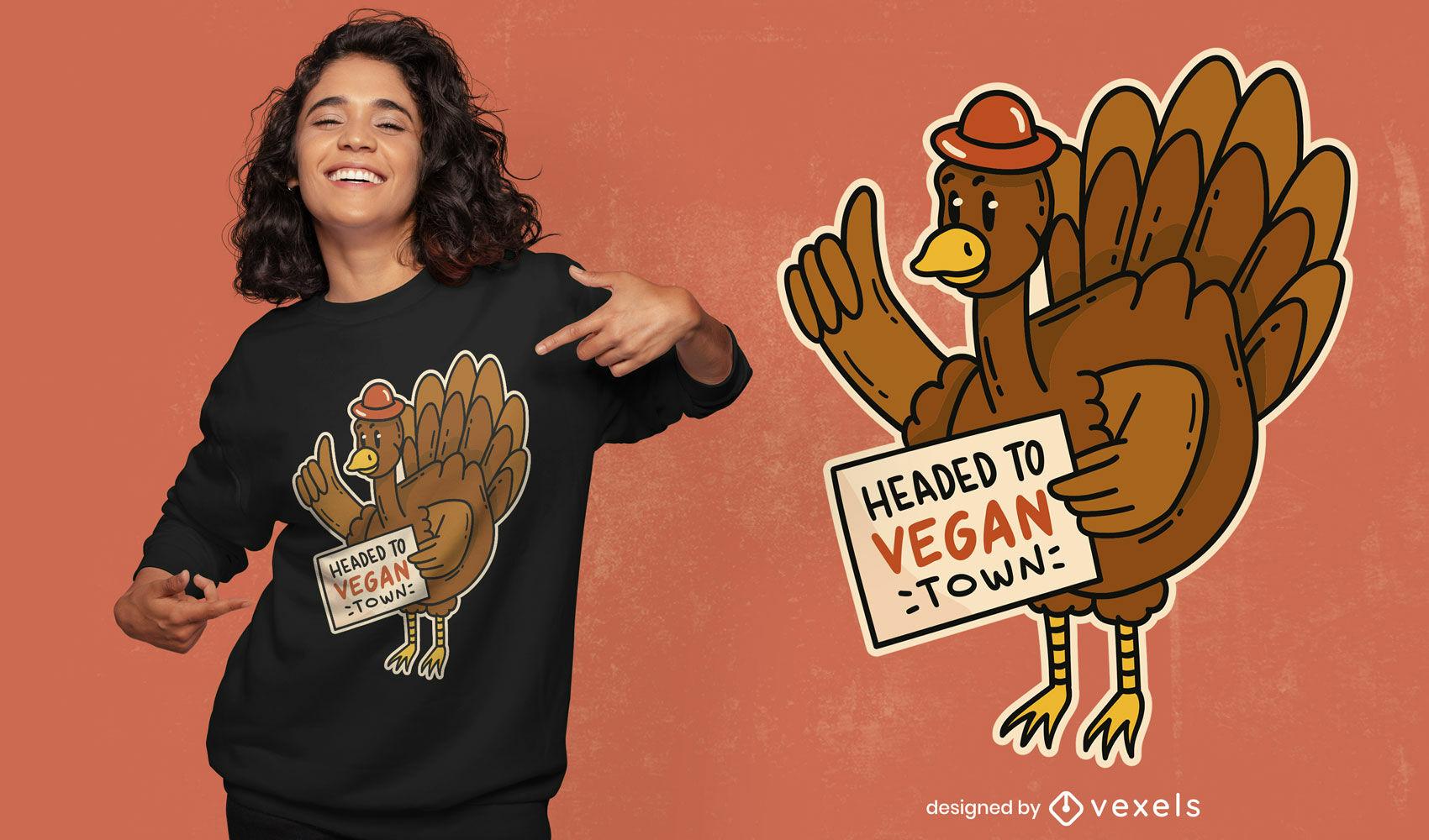 Cool vegan town turkey t-shirt design