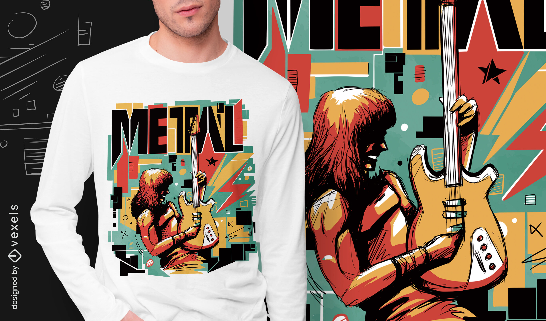 Metallmusiker abstraktes PSD-T-Shirt