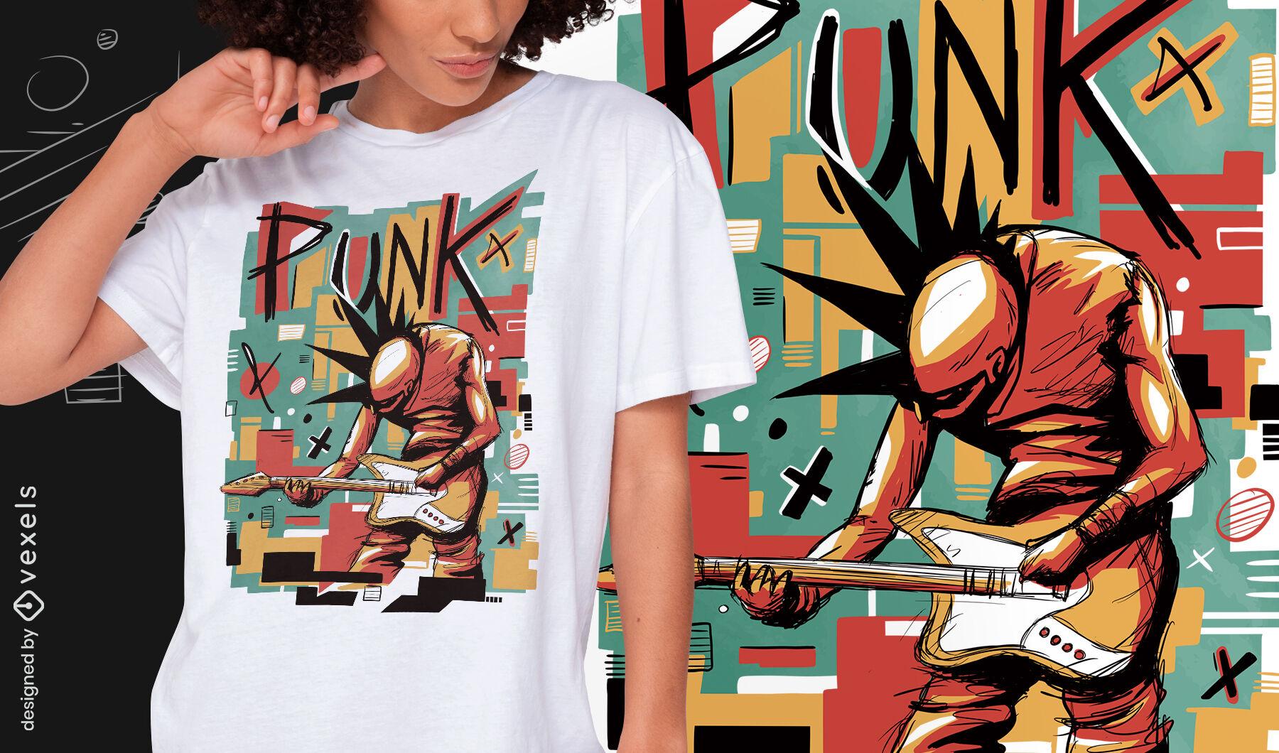 Camiseta psd abstracta de músico punk