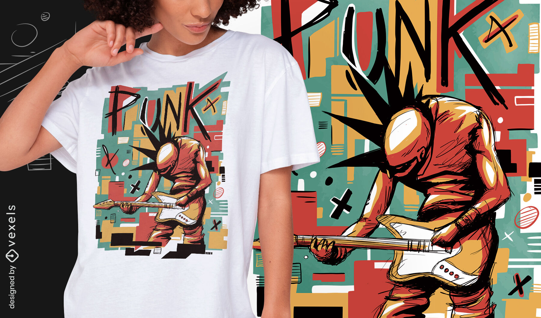 Punk musician abstract psd t-shirt