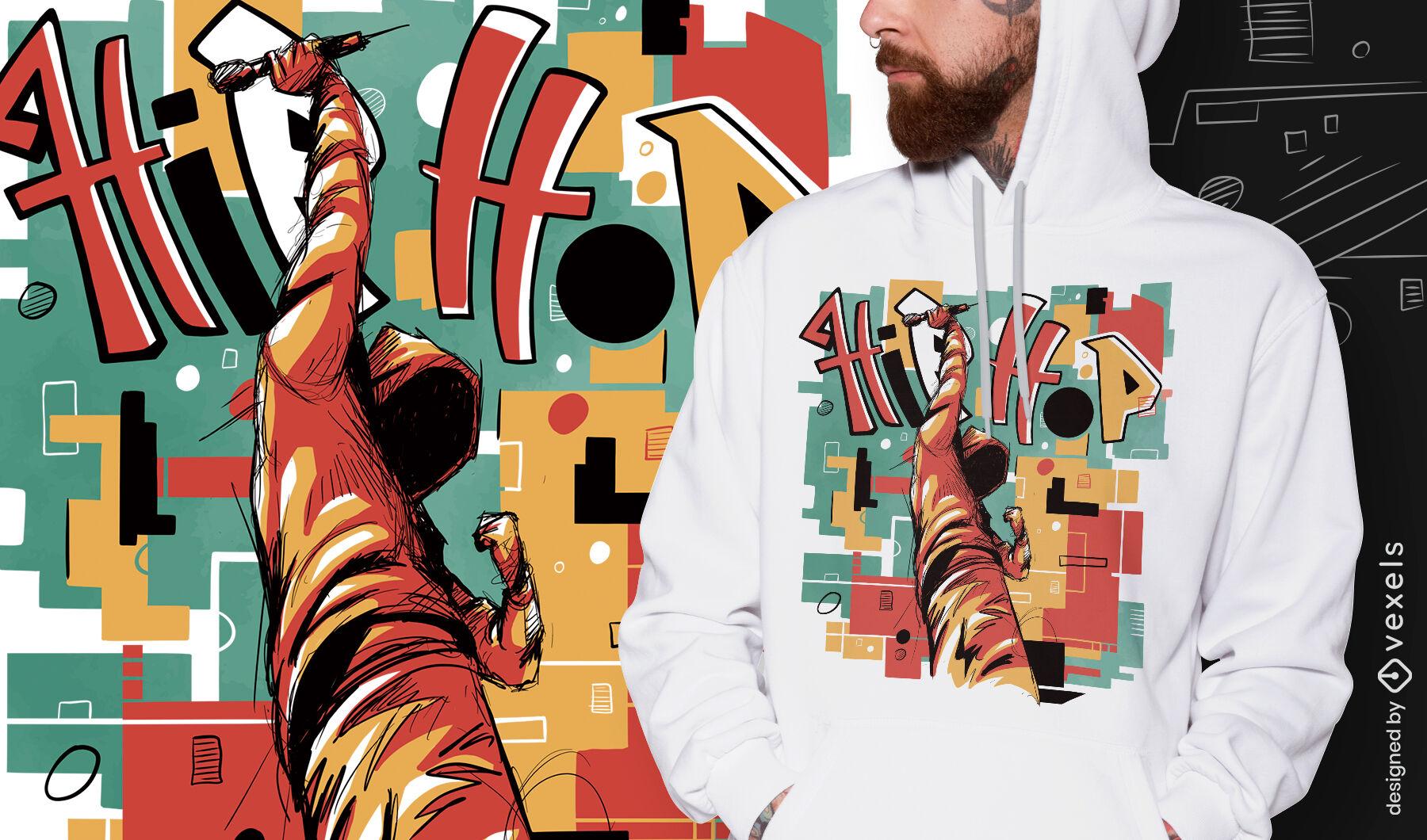 Camiseta psd abstracta de músico de hip hop