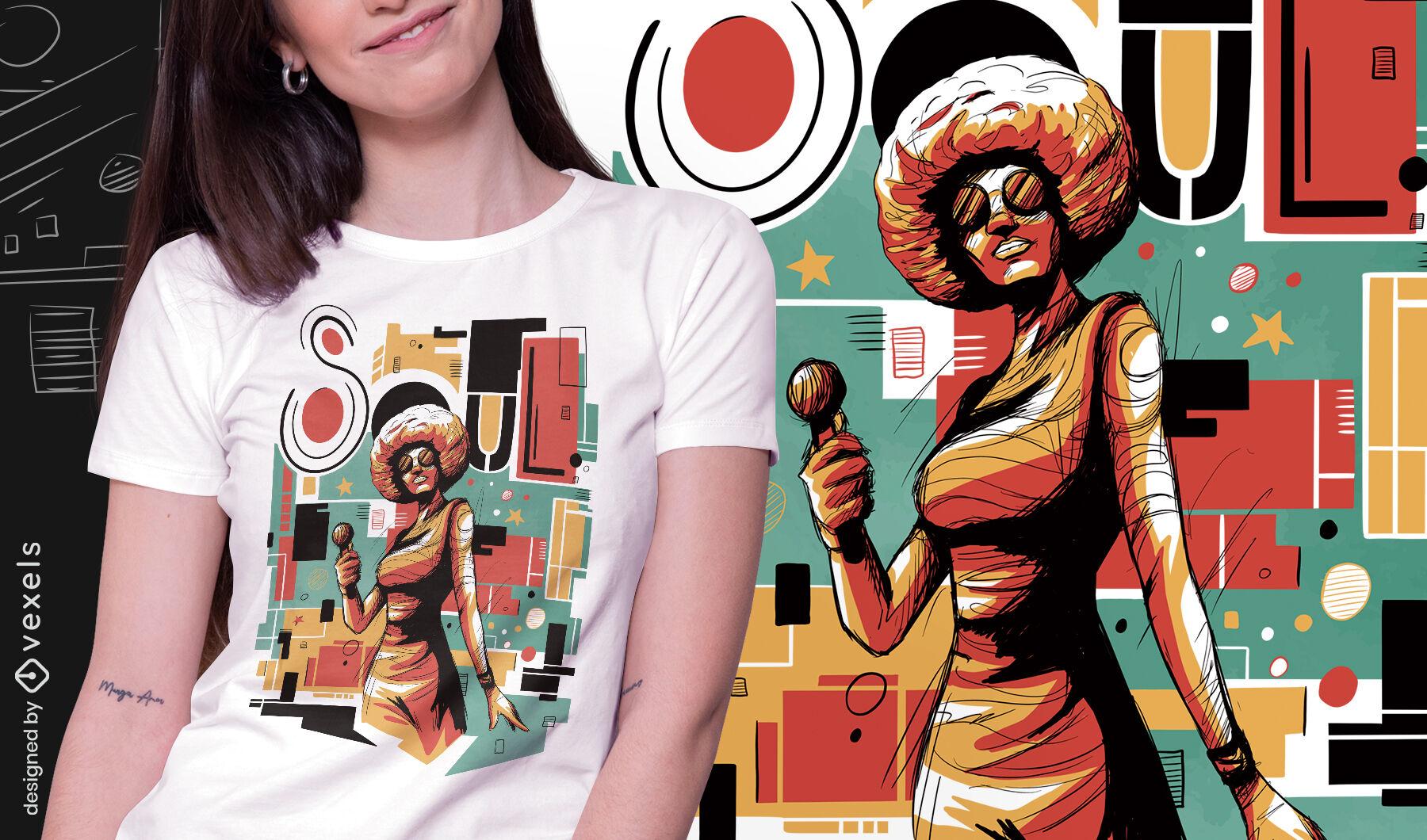 Camiseta psd abstracta de soul musician