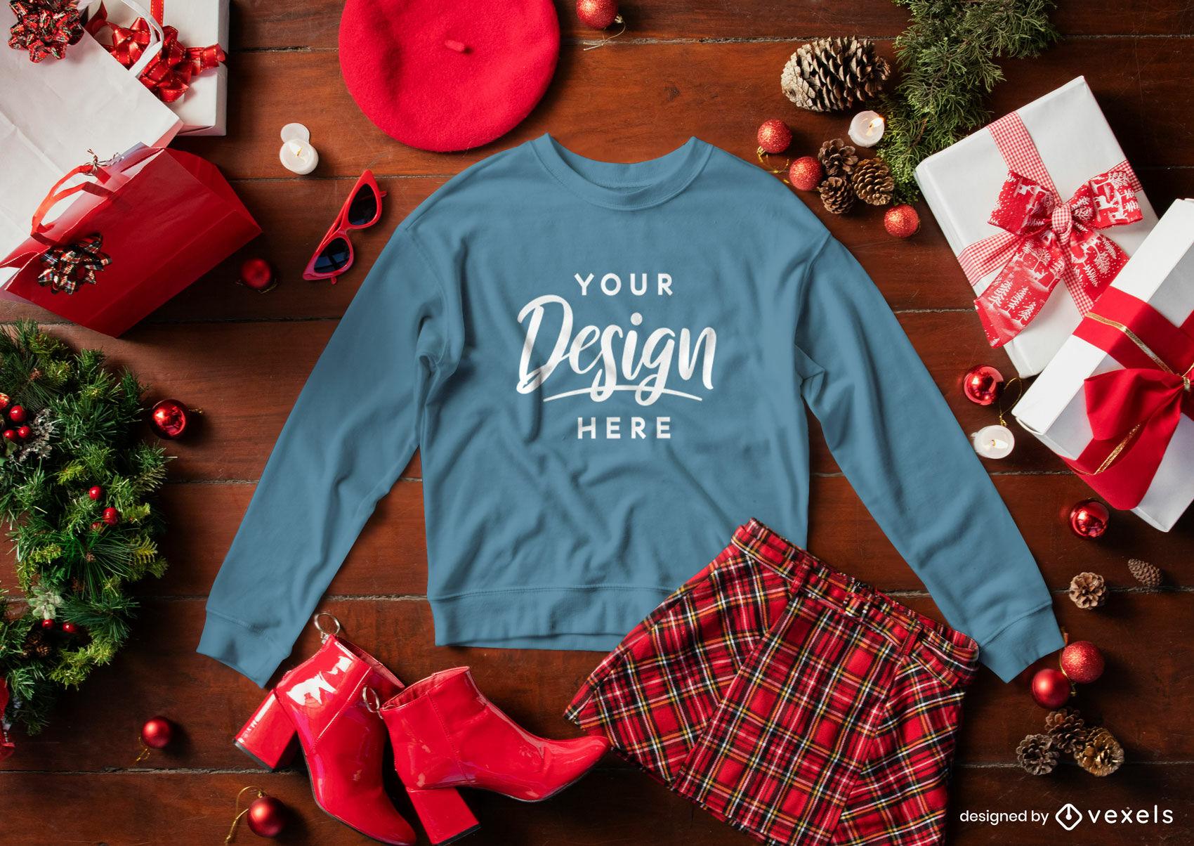 Weihnachtsblaues Sweatshirtmodellzusammensetzung