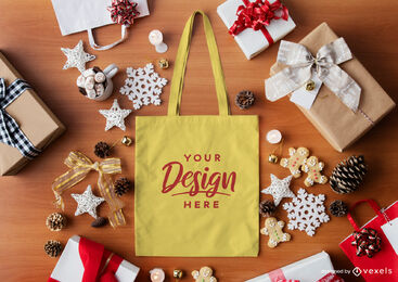 Christmas composition yellow tote bag mockup
