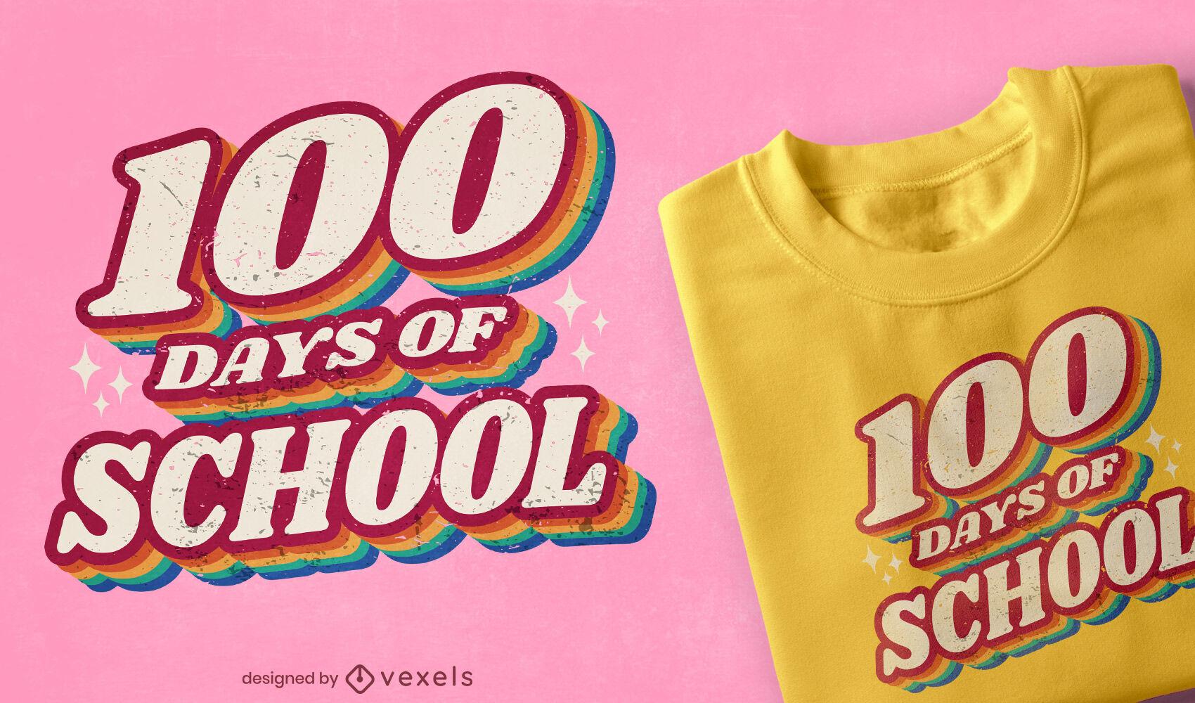 Diseño de camiseta retro con cita de días escolares.