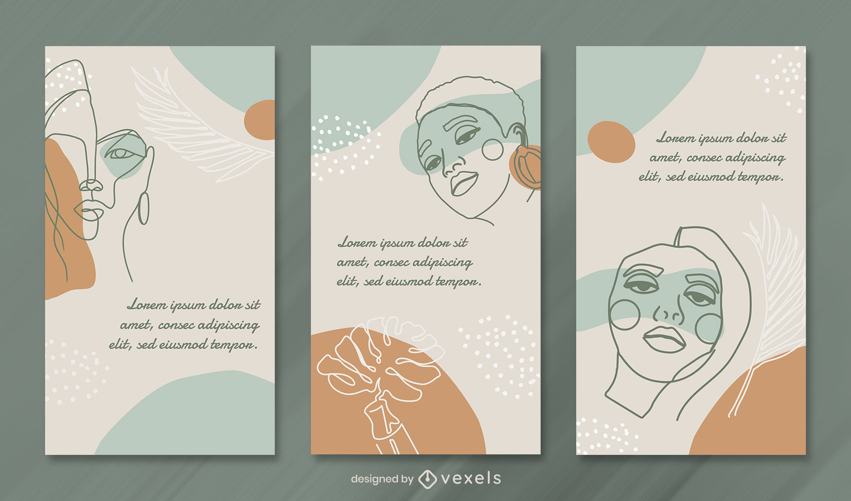 Continuous line faces instagram story template