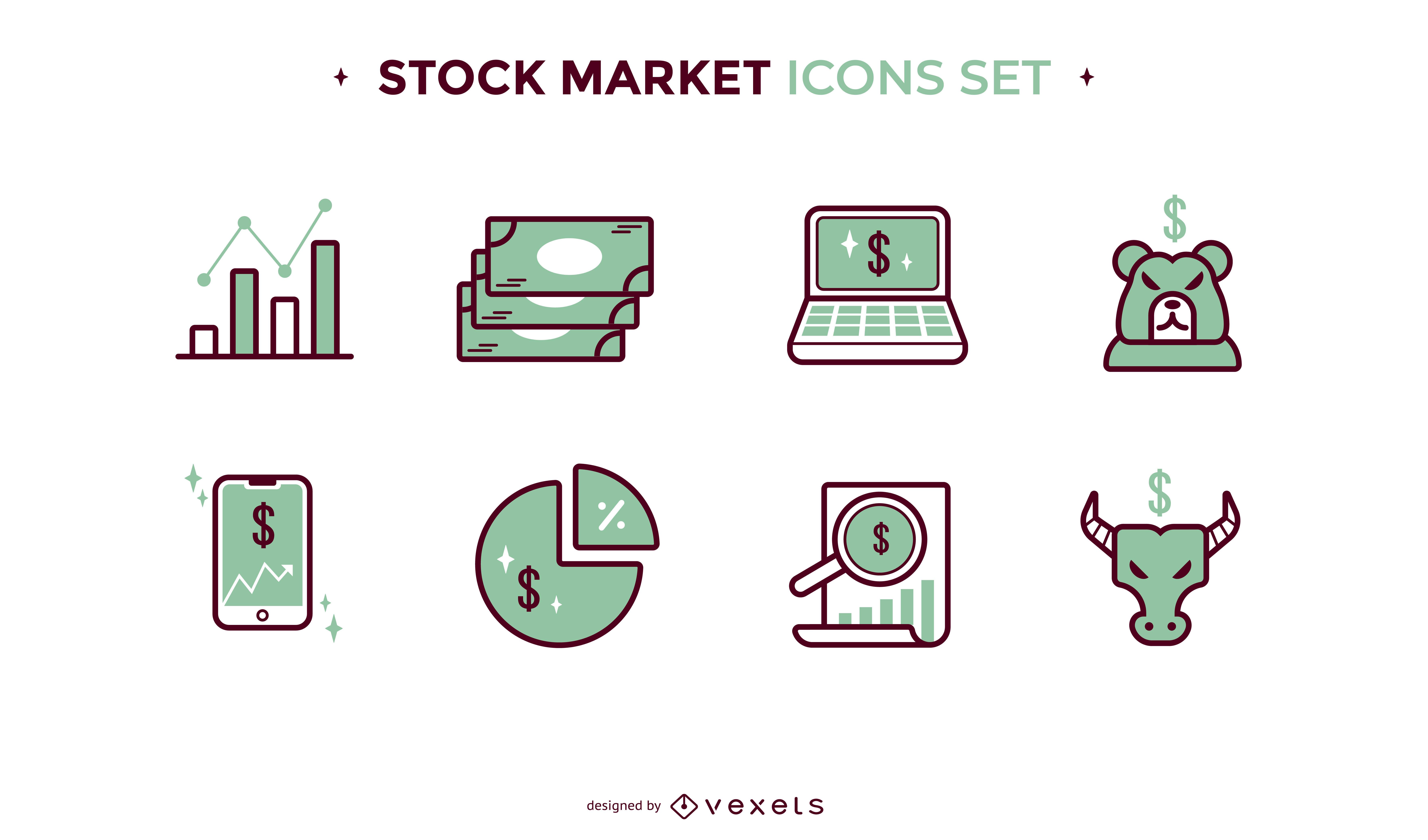Iconos de trazo de color de acciones y finanzas