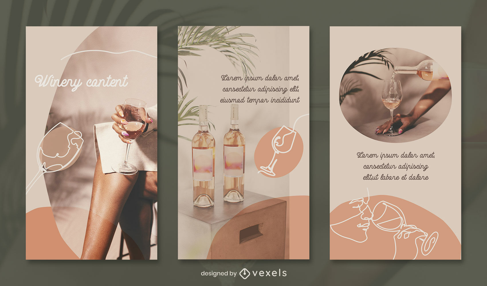 Continuous line elements instagram story template