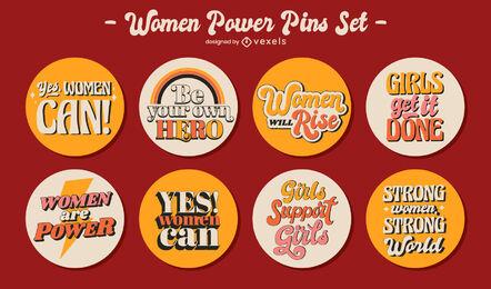 Feminist retro lettering pins set