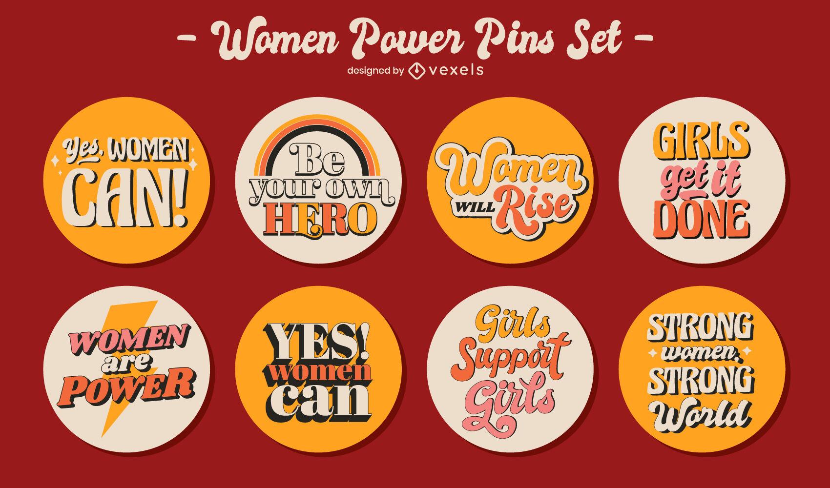 Feministische Retro-Schriftzug-Pins-Set