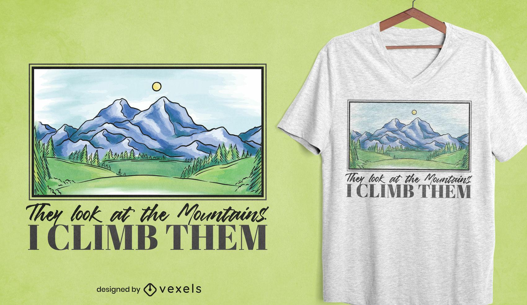 Diseño de camiseta de pintura de paisaje de montaña.