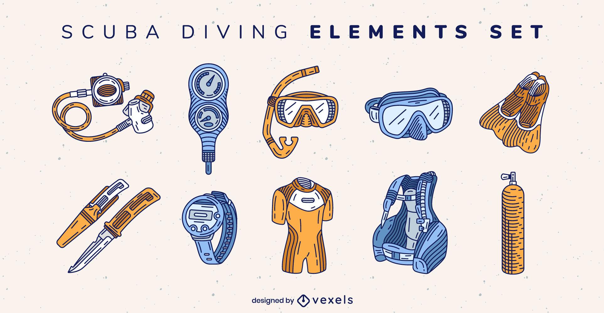 Conjunto de elementos de equipo de buceo.