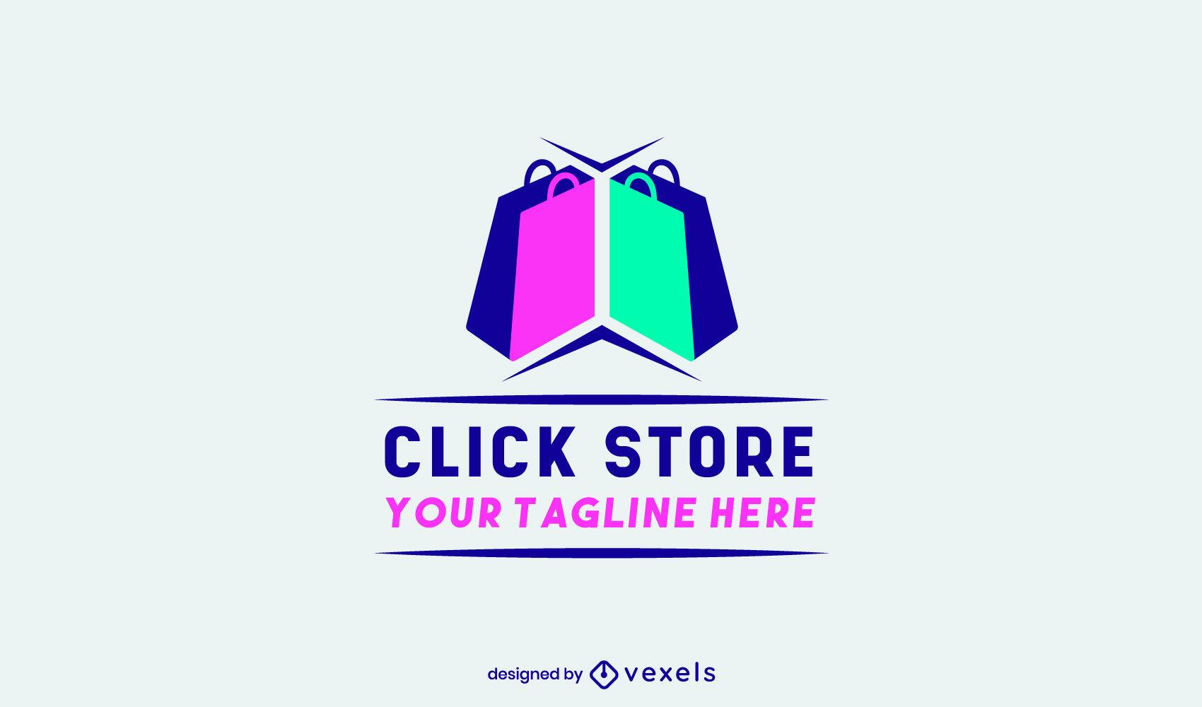 Modelo de logotipo comercial de sacolas de compras