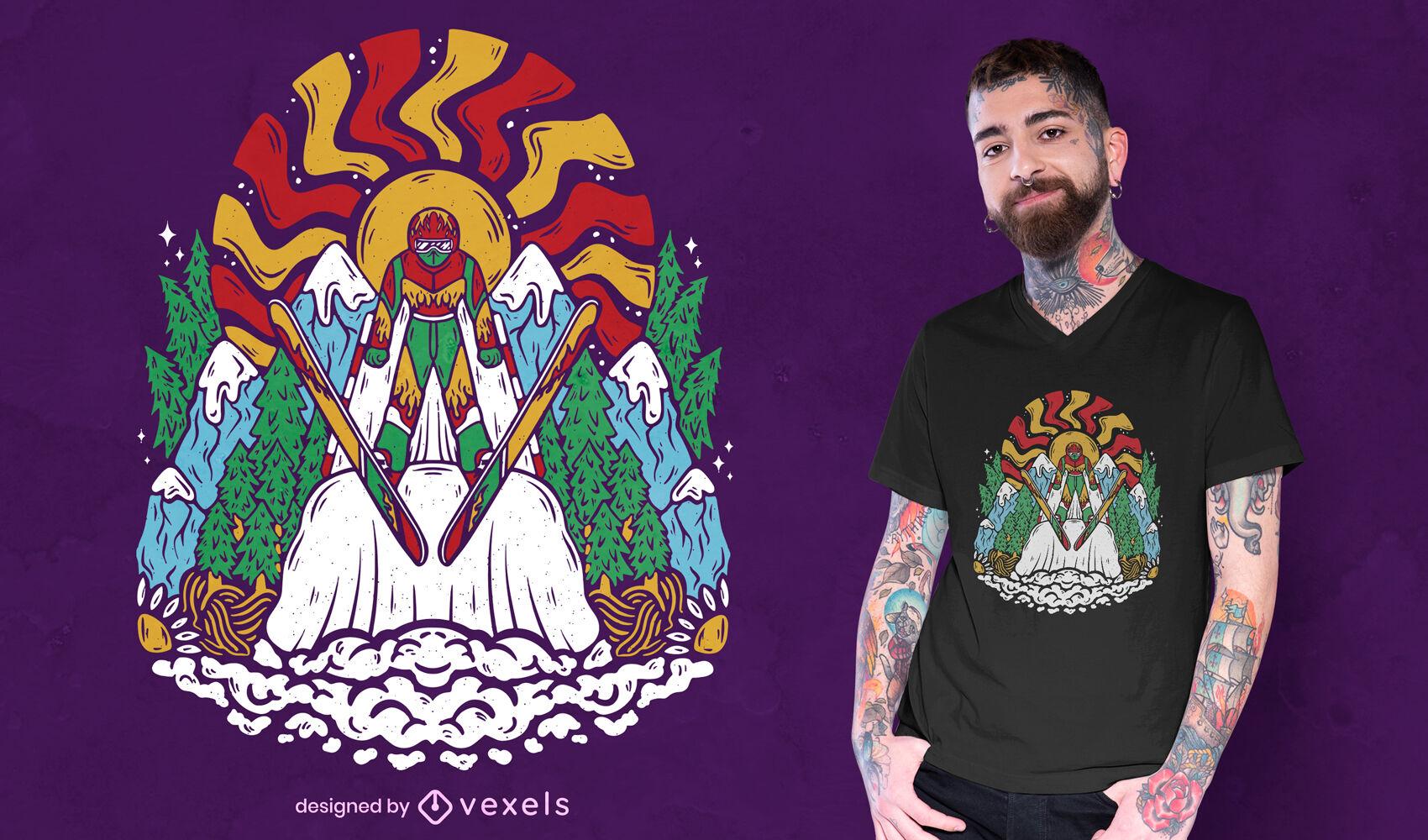 Diseño de camiseta de esquiador genial