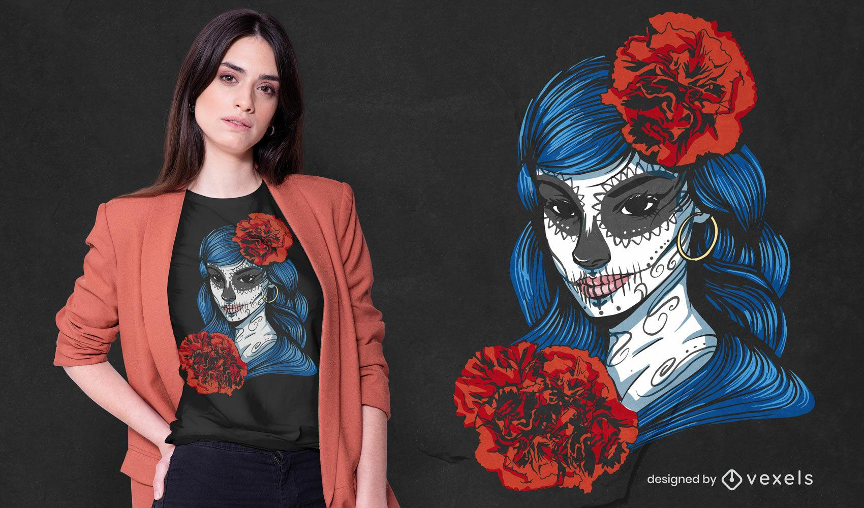 Dia de los muertos Catrina Kalaka T-Shirt Design