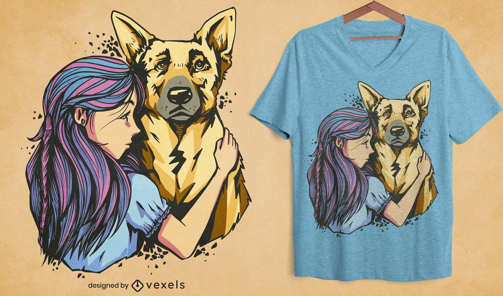 Dise?o de camiseta de ni?a y perro pastor alem?n.