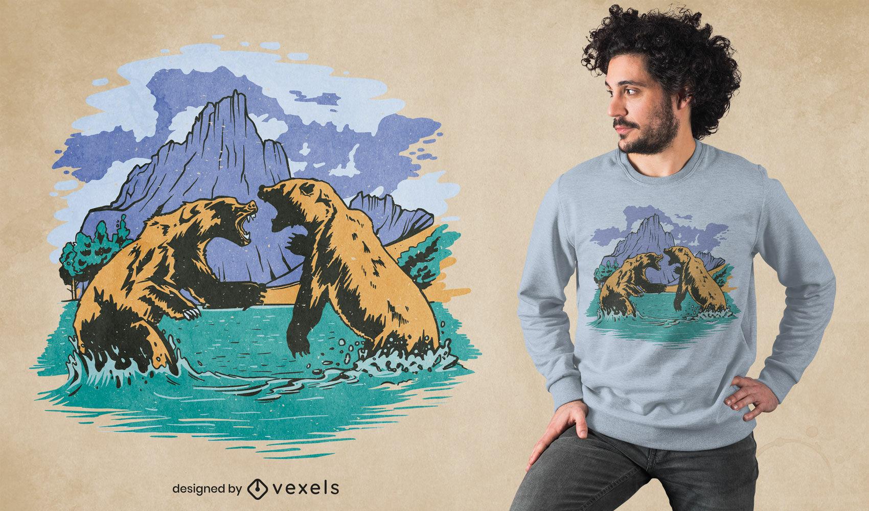 Design de t-shirt legal de luta de urso