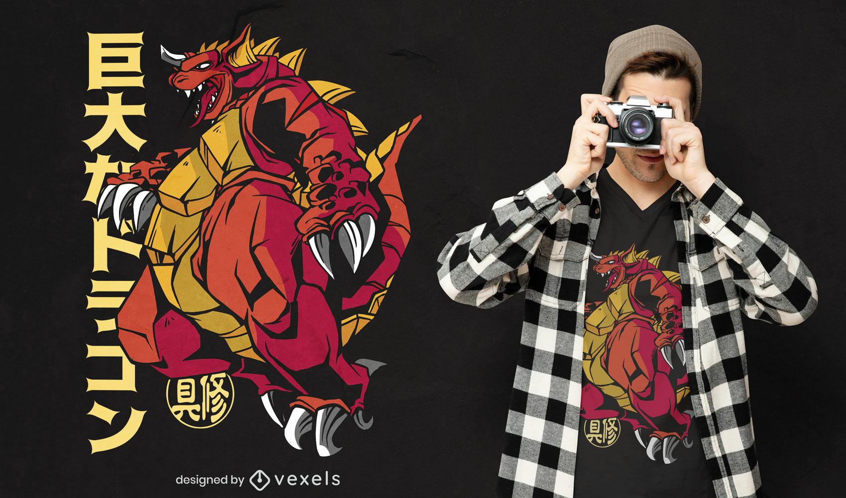Dragon japanese monster anime t-shirt design
