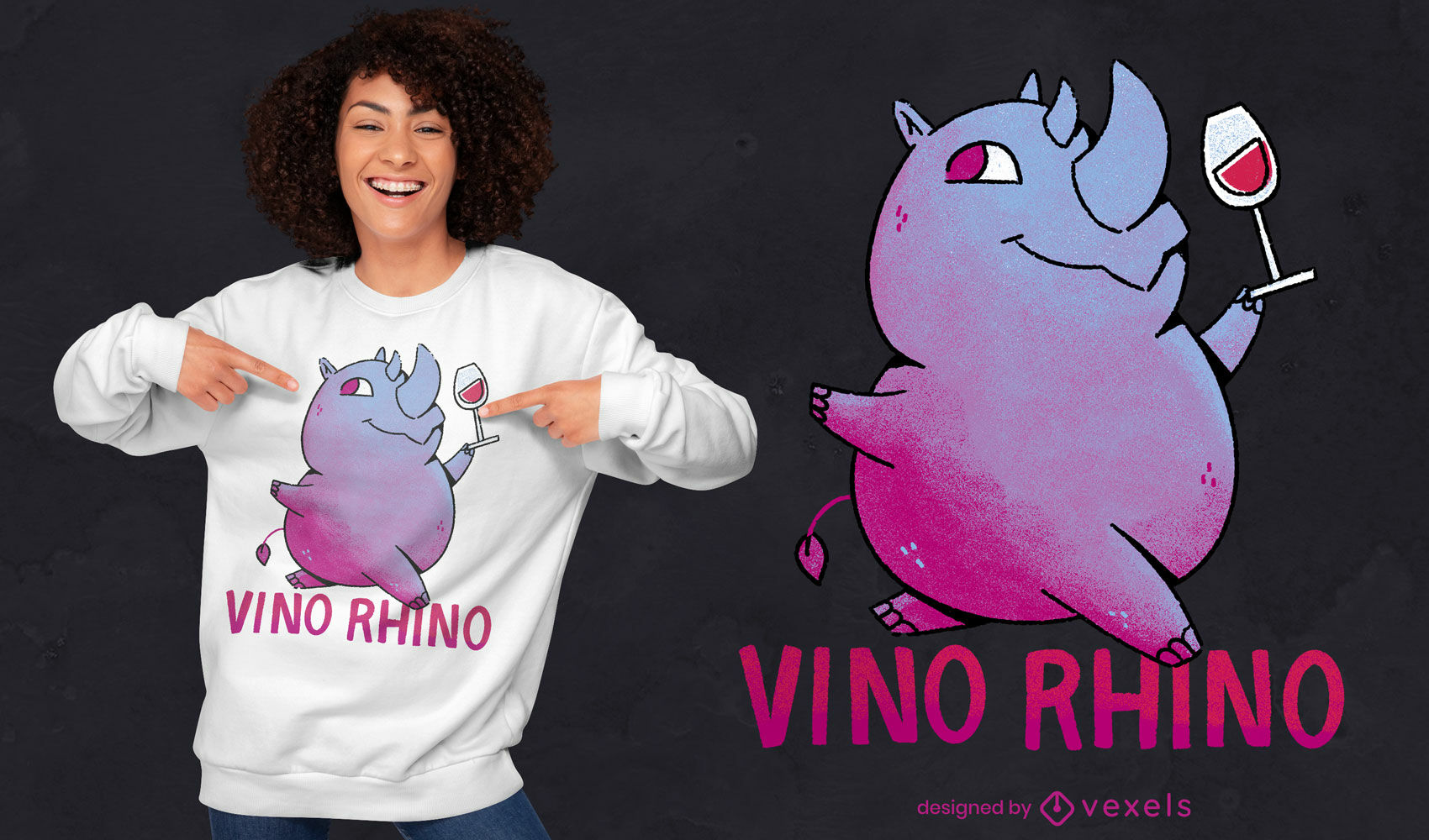 Diseño de camiseta psd de dibujos animados de rinoceronte de vino