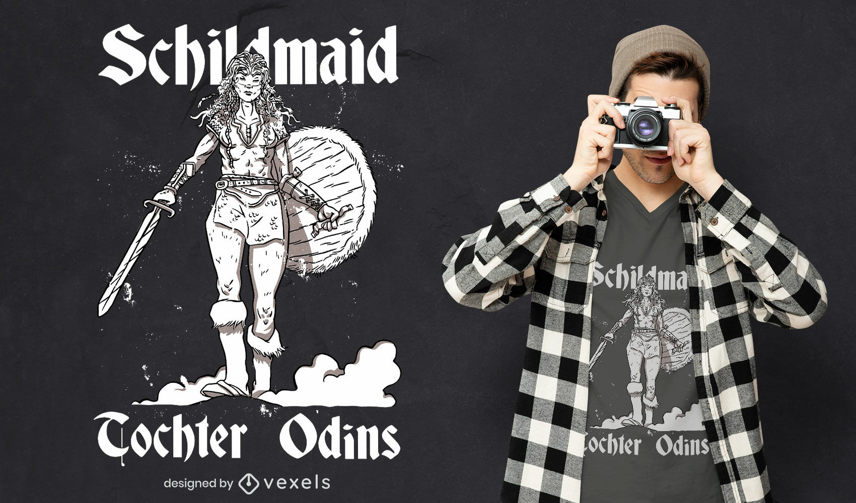 Diseño de camiseta vikinga mujer guerrera dibujada a mano