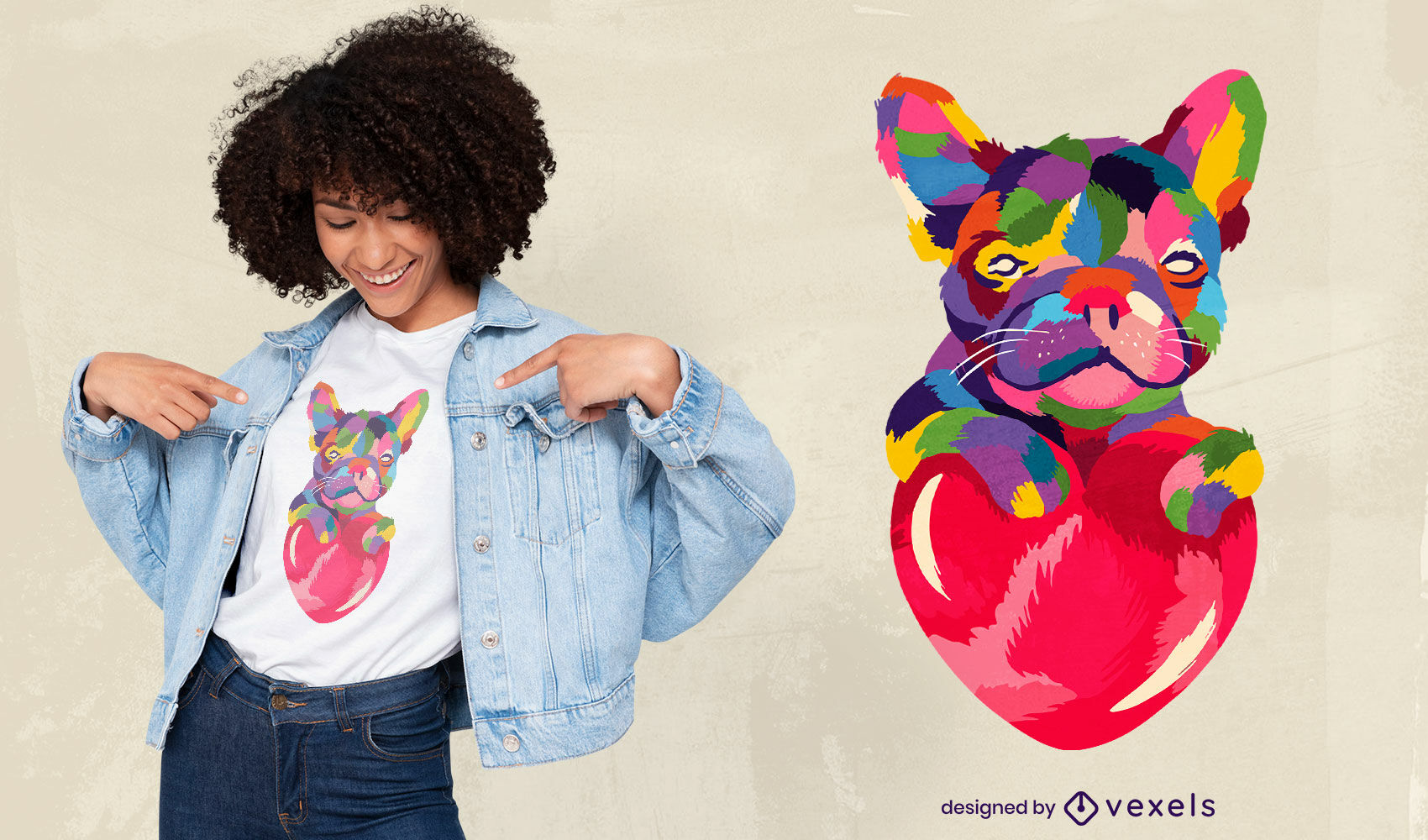 Niedliches buntes Bulldoggen-T-Shirt-Design