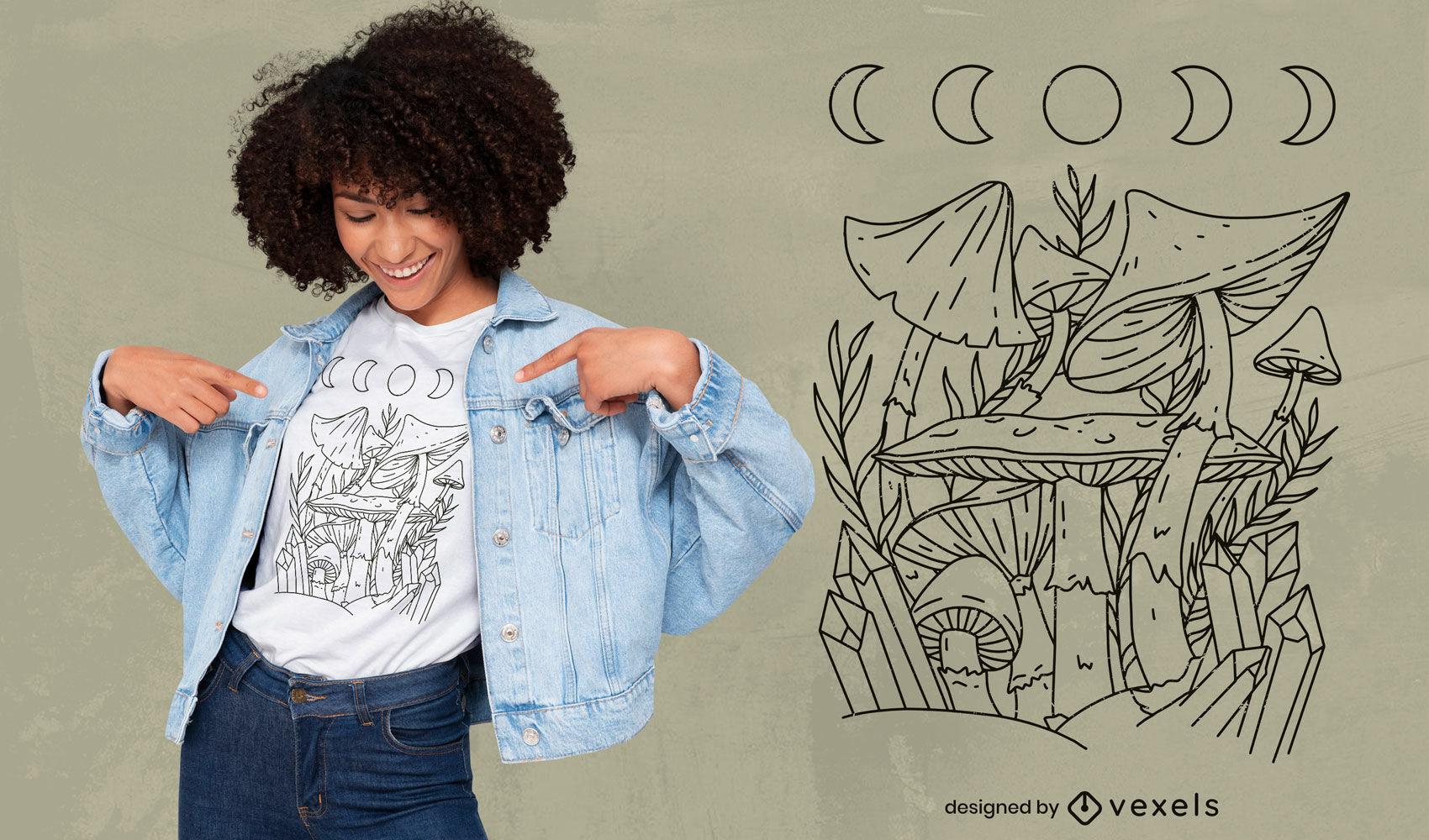 Design de camisetas com cristais de cogumelo esotérico