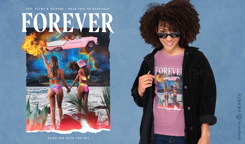 Chicas en diseño de camiseta de collage de playa psd