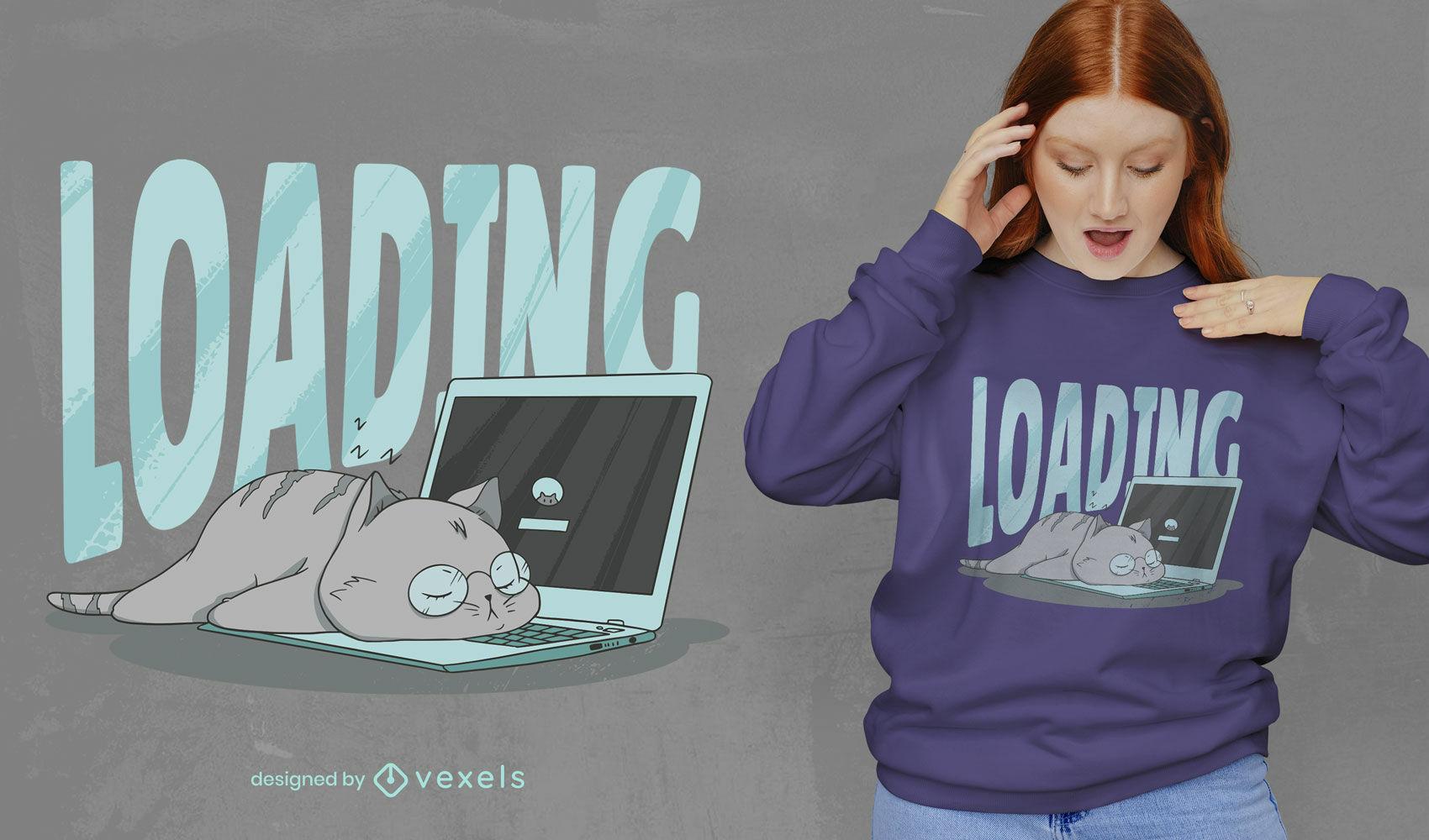 Gato fofo dormindo no design da camiseta do computador