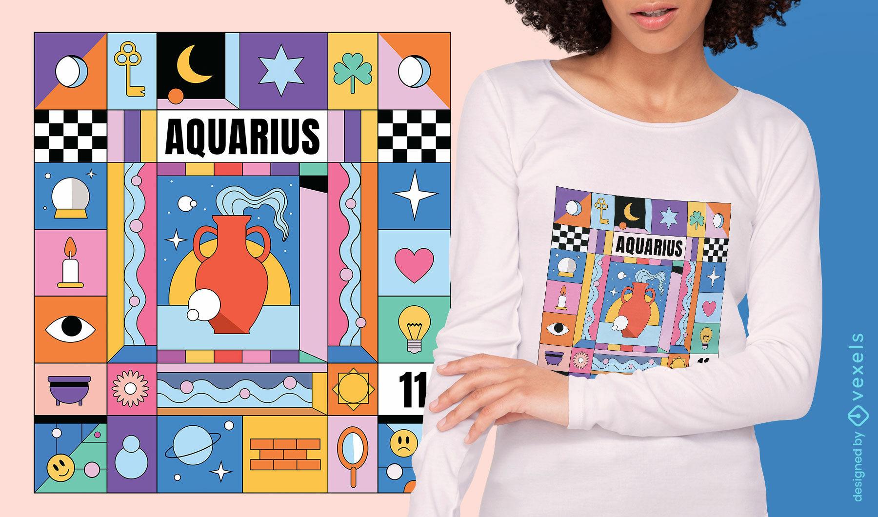 Diseño de camiseta de signo del zodiaco colorido de Acuario