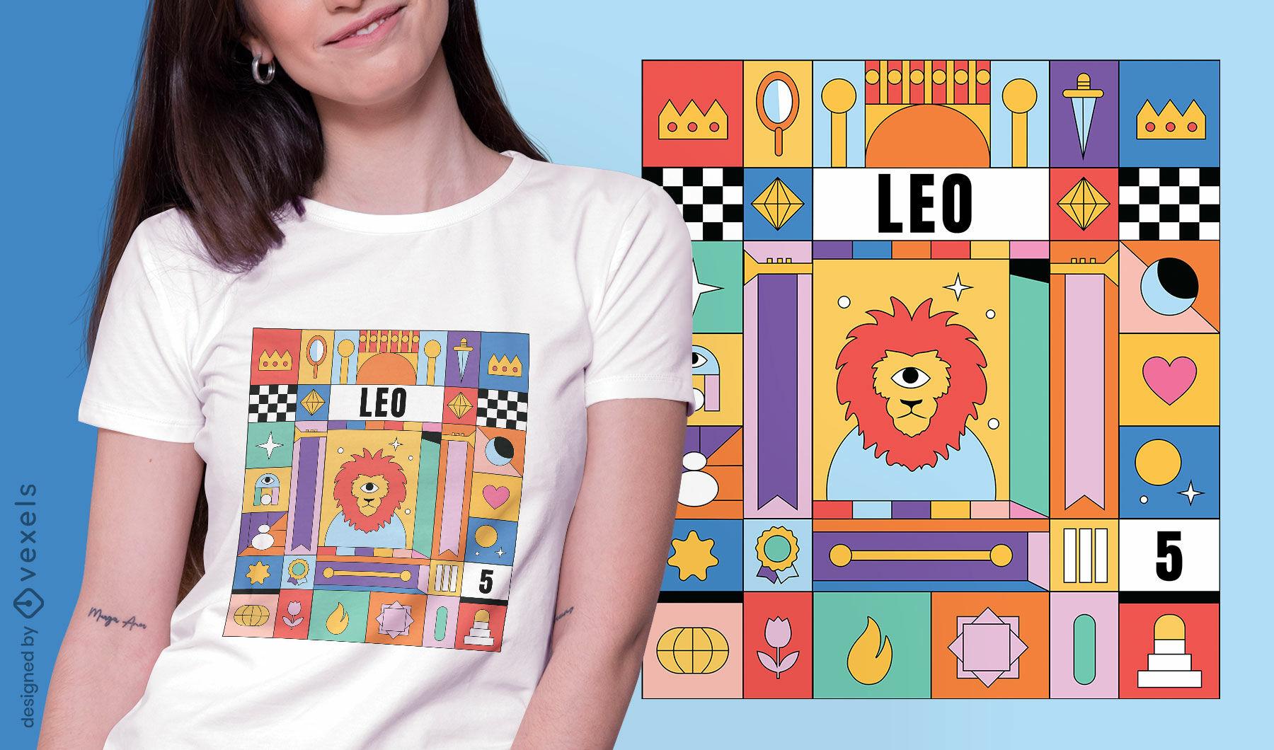 Diseño de camiseta de signo del zodiaco colorido de Leo