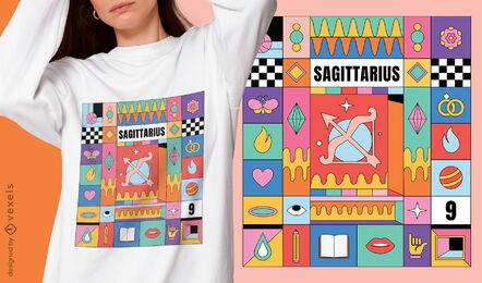 Sagittarius colorful zodiac sign t-shirt design