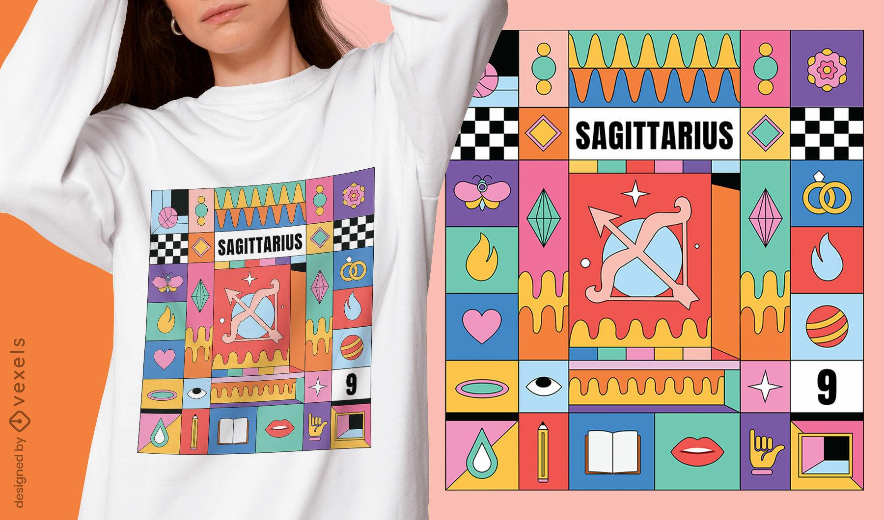 Diseño de camiseta de signo del zodiaco colorido de Sagitario
