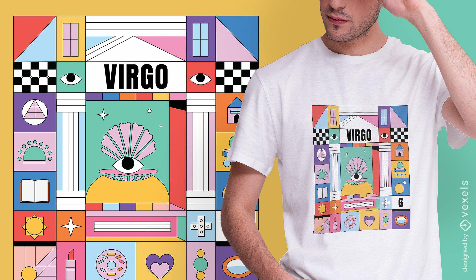Design de camiseta colorida com o signo do zodíaco de Virgem