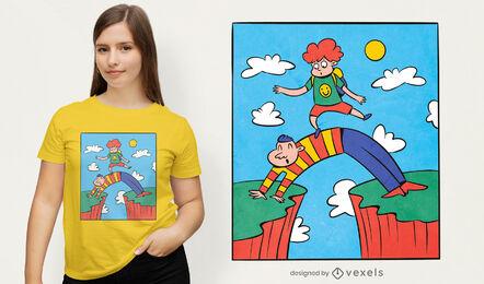 Lindo diseño de camiseta de profesor y alumno.